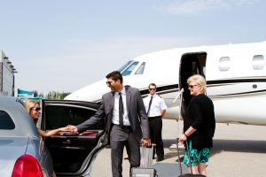 people boarding private jet