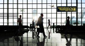 international departures in airport terminal